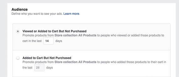 facebook kampánycélok - termékkatalógus alapú