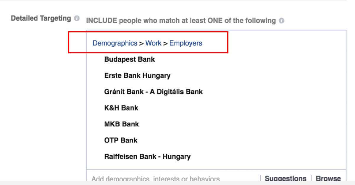 facebook hirdetés célzása demográfiai adatok alapján - screenshot