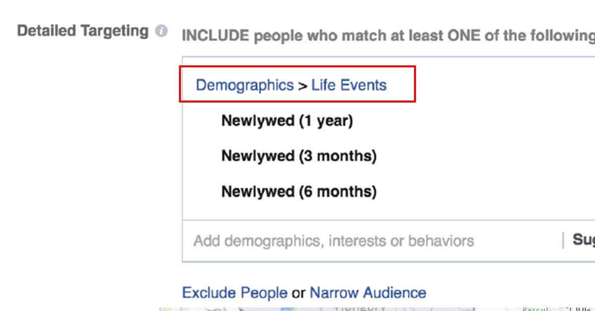 facebook hirdetés célzása direkt célzás révén - life event screenshot