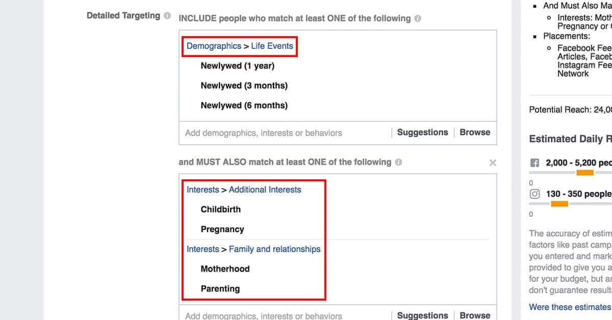 facebook célzások - direkt célzás 4