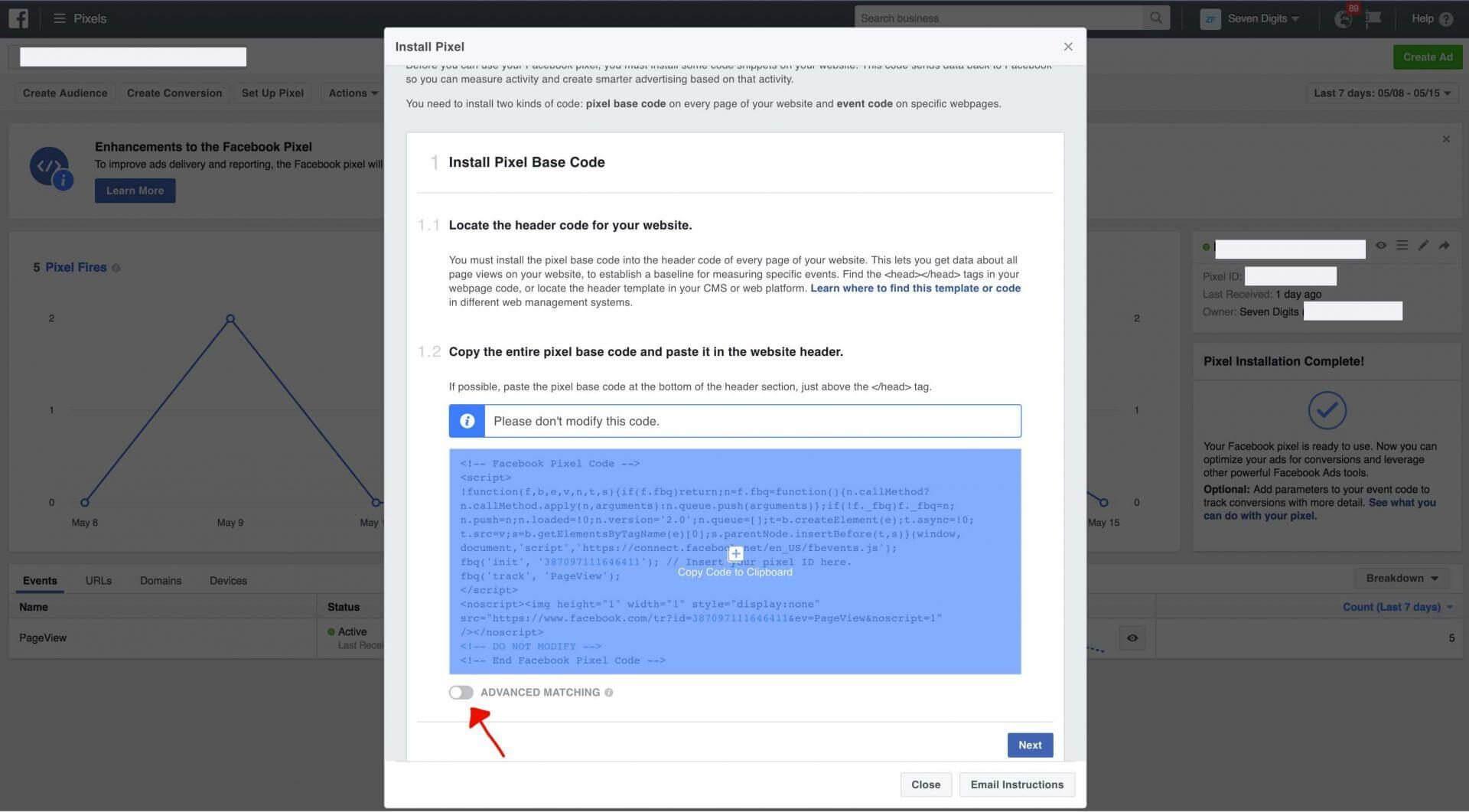 facebook hirdetés - pixel generálás