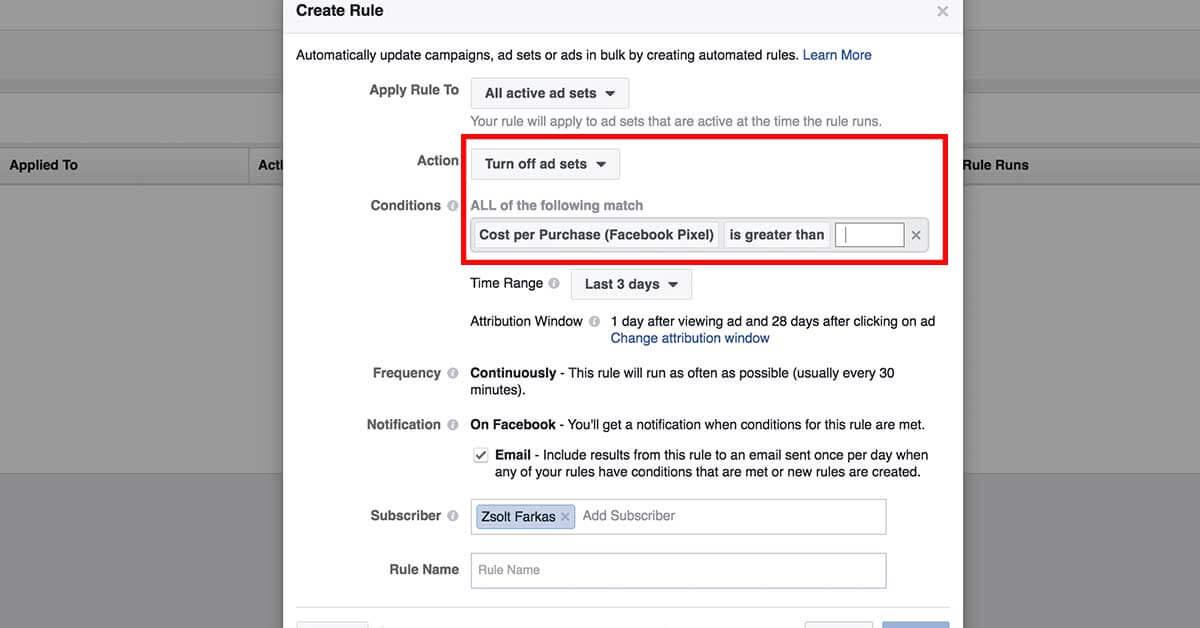 szabályok beállítása a hirdetéskezelőben - screenshot