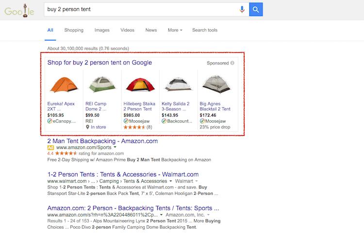 Google Shopping hirdetés példa - keresési vs display hirdetés