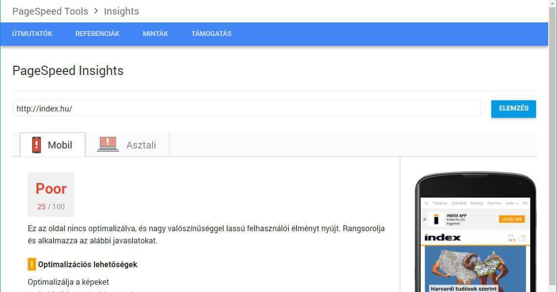 honlap optimalizálás Page Insights segítségével - screenshot
