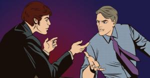 b2b marketing stratégia felett vitatkozó képregény figurák