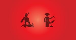 értékesítési technikák egy stilizált farmer és egy vadász ikonjával