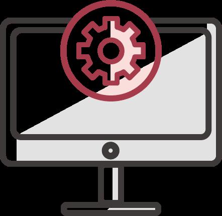 online marketing ügynökség technológiai oldalát jelképező ikon manitorral és fogaskerékkel