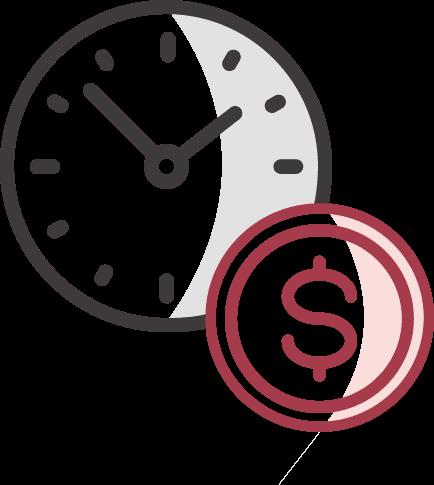 Az idő pénz - adatvezérelt marketing ügynökség szlogenjét jelképező óra és stilizált dollár ikon