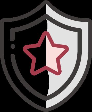 online marketing ügynökség adatvezérelt szemlélettel - az ügyfelek biztonságát jelképező pajzs ikon a kiválóságra utaló csillaggal