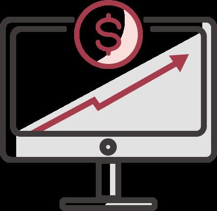 adatvezérelt marketing ügynökség növekedését szimbolizáló monitor ikon dollárjellel