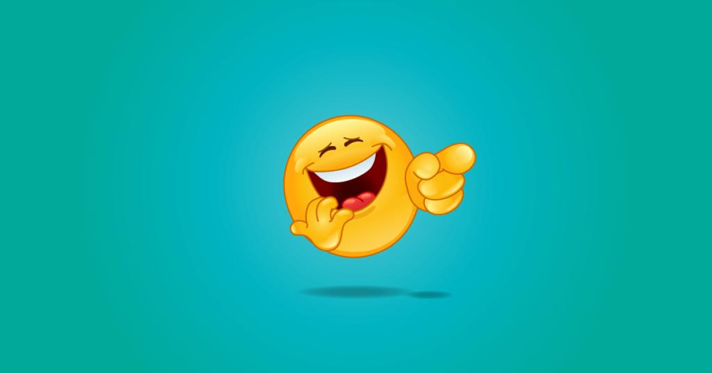 SEO szakértő fejét szimbolázóló harsányan röhögő emoji