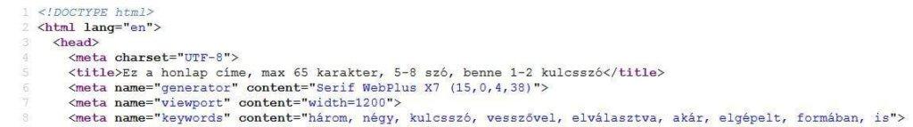 Weboldal forráskódjának képernyőképe benne a meta tag-ekkel - SEO szakértő rémálom