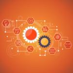 marketing automatizálás illusztráció két fogaskerékkel és megannyi kapcsolódó marketing ikonnal