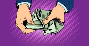pay-to-play szemléltető ábra kezek számolnak százdollárosokat