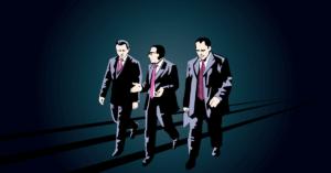 drag-along vagy más írásmóddal drag along jog három tárgyalásról igyekvő üzletember rajzfilmes sziluettjével