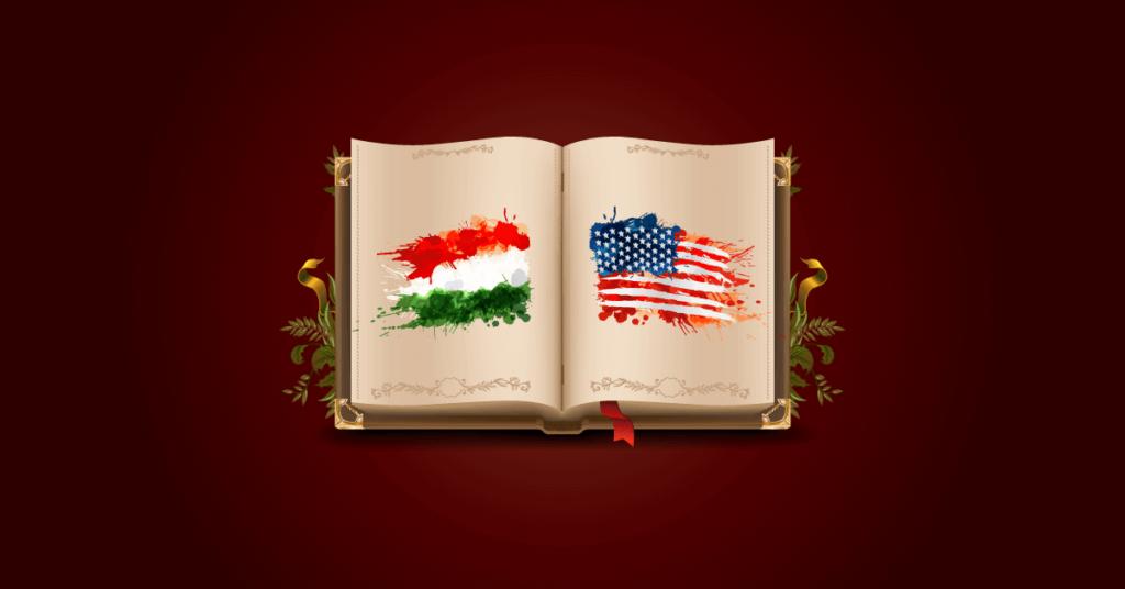 magyar startup és amerikai startup naplója egy könyv két lapján ábrázolt magyar és amerikai zászlókkal