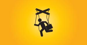 startup vállalkozás kontroll mechanizmusait szimbolizáló marionett illusztráció