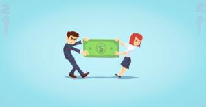 liquidation preference két mérges, huzakodó figura kezében egy bankjeggyel