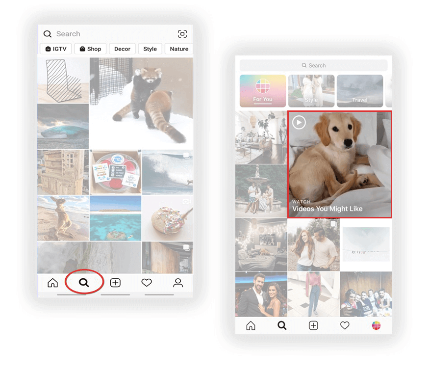 Keresés és videók megjelenése az instagram algoritmusának működése szerint - két screenshot