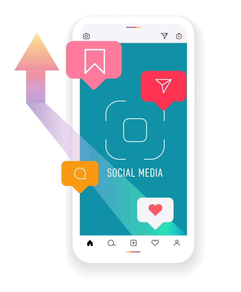 Instagram algoritmus működése stilizált ábrán egy mobillal