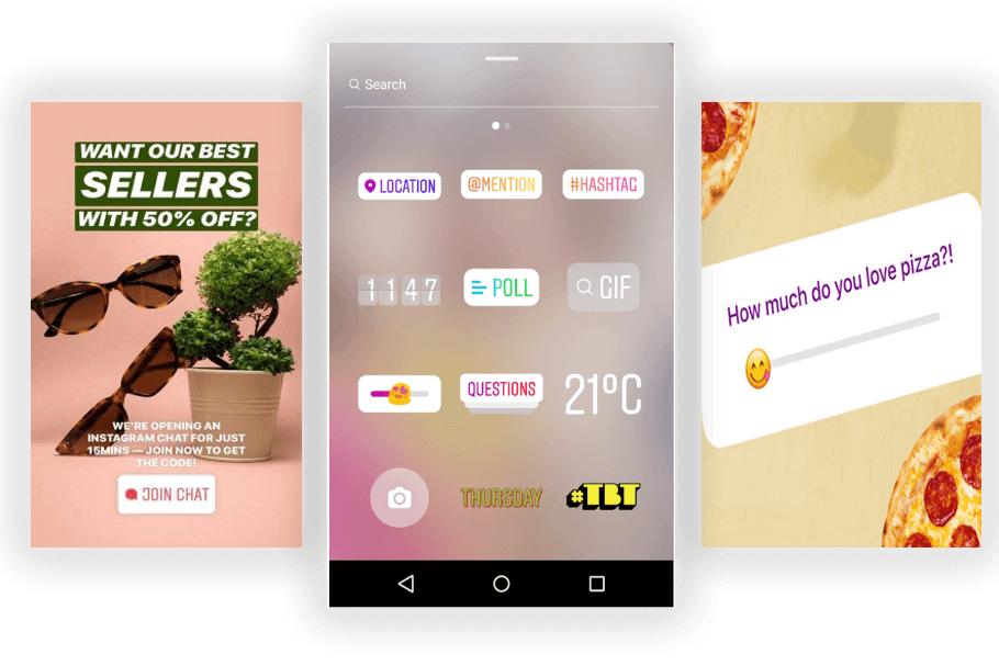 Instagram story interaktív lehetőségei - három mobil screenshot