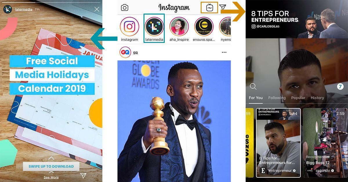 Instagram történetek és IGTV