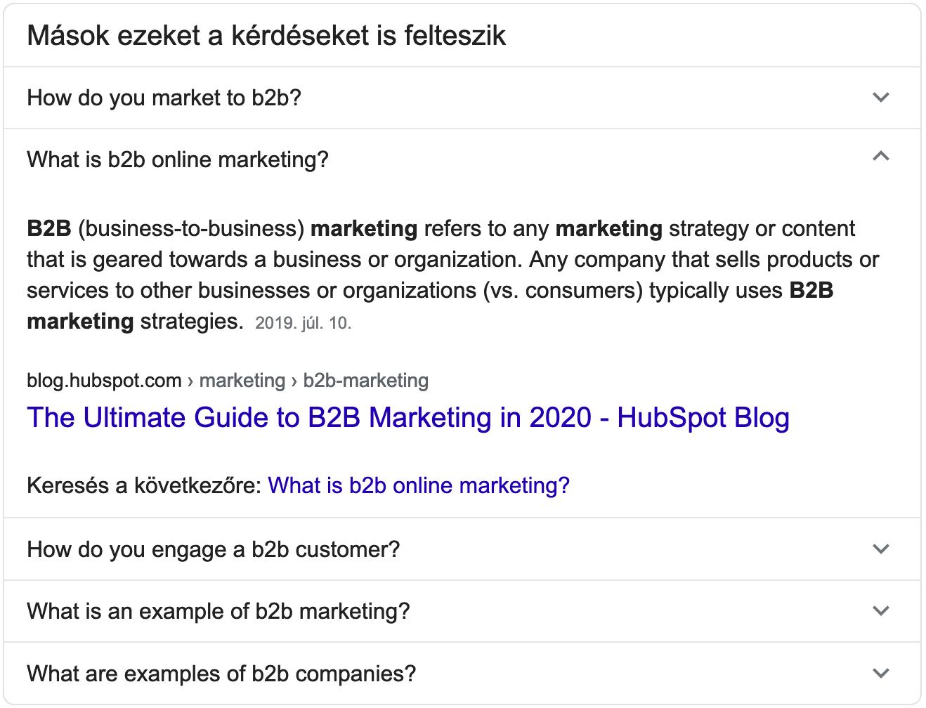 Online marketing eszközök keresési találat példda egy Google Question Box formájában