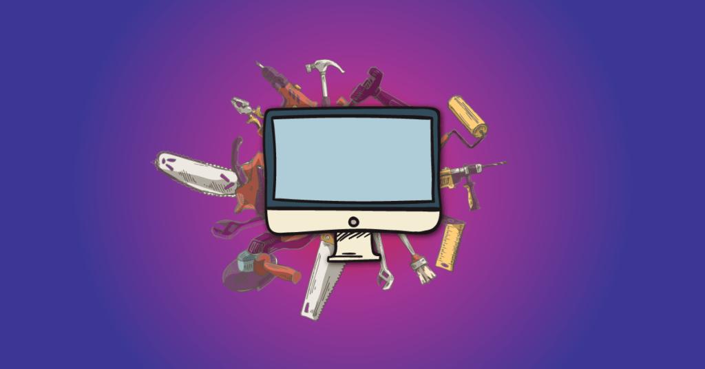online marketing eszközök cover illusztráció desktop számítógép mögül kikandikáló szerszámokkal