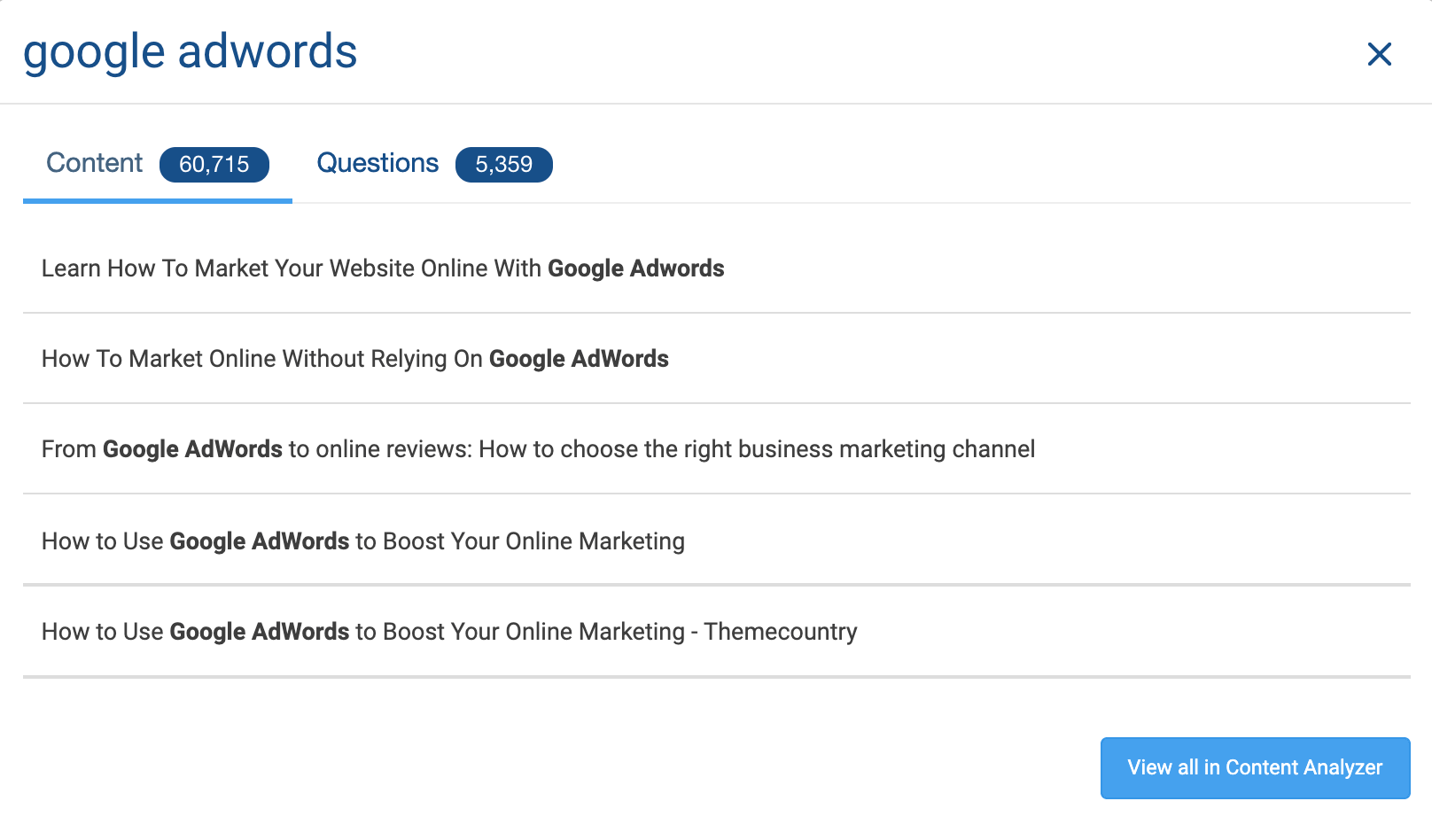 online marketing eszközök Buzzsumo screenshot