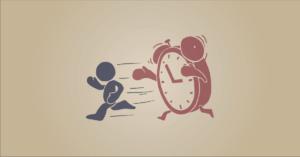 weboldal készítés időnyomását illusztráló stilizált menekülő karakter, akit egy óra követ