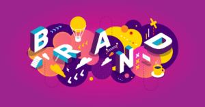 cégnév választás illusztráció a brand szó betűinek kreatív elrendezésével
