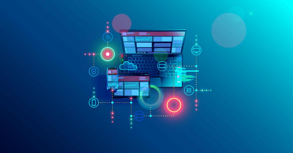 Wordpress-SEO-Cover fotó számítógéppel és az összefüggések stilizált ábrájával