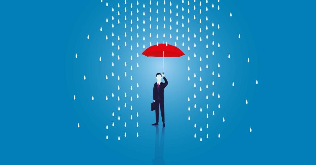 válságmenedzsment helyzetet jelképező eső és egy alak piros esernyővel