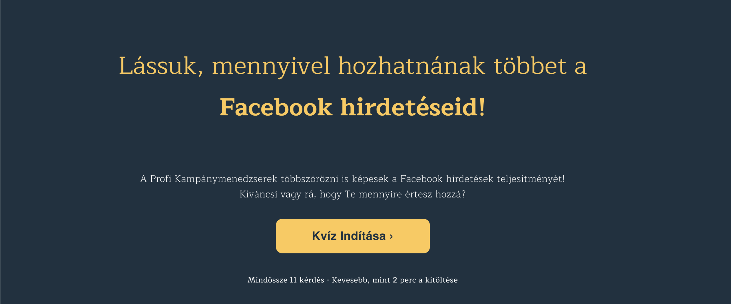 Facebook marketing kvíz, mint lead mágnes screenshot