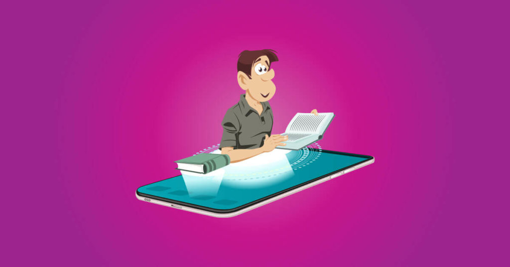 LMS rendszerek cover fotó egy mobiltelefonon tanuló képregény figurával