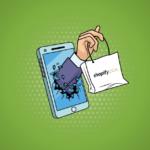 Shopify Plus egy telefonból kinyúló kézzel és Shopify táskával