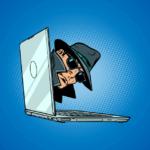 Weboldal fejlesztés cover egy számítógépből kikandikáló ügynök fejével